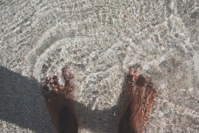 water sand feet